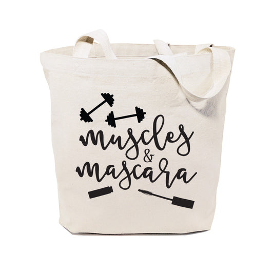 Muscles and Mascara Gym Cotton Canvas Tote Bag - The Cotton and Canvas Co.