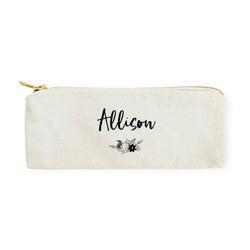 Personalized Name Floral Cotton Canvas Pencil Case and Travel Pouch - The Cotton and Canvas Co.