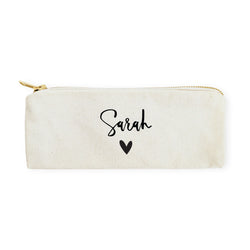 Personalized Name Heart Cotton Canvas Pencil Case and Travel Pouch - The Cotton and Canvas Co.