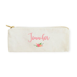 Personalized Name Colored Floral Cotton Canvas Pencil Case and Travel Pouch - The Cotton and Canvas Co.