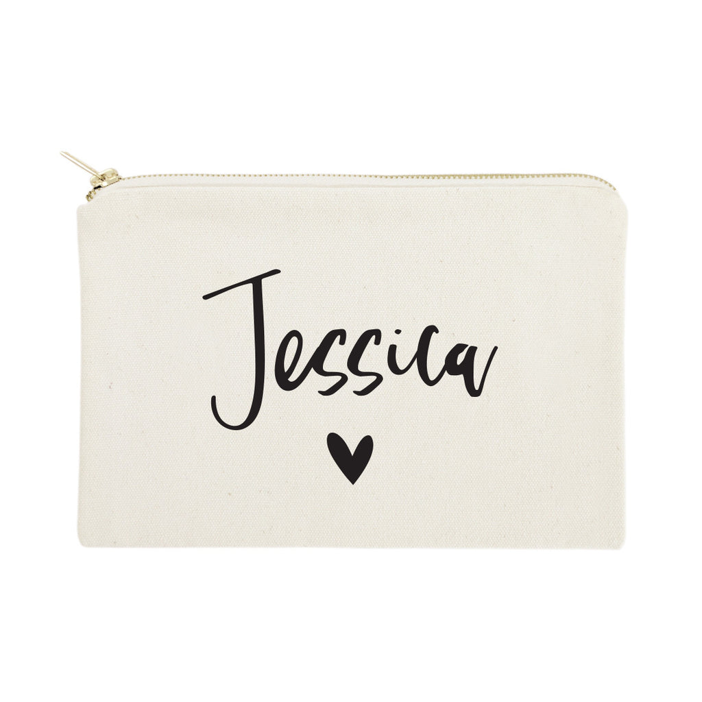 cf78d77324c4 Personalized Name Heart Cosmetic Bag and Travel Make Up Pouch