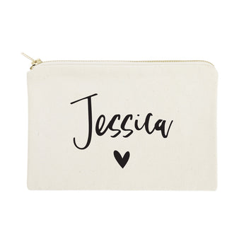 Personalized Name Heart Cosmetic Bag and Travel Make Up Pouch - The Cotton and Canvas Co.