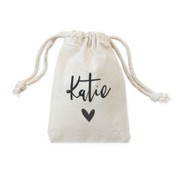 Personalized Name with Heart Wedding Favor Bags, 6-Pack - The Cotton and Canvas Co.