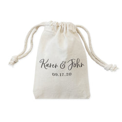 Personalized Couple Name and Date Wedding Favor Bags, 6-Pack - The Cotton and Canvas Co.