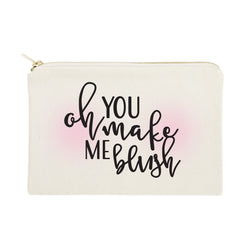 Oh You Make Me Blush Cotton Canvas Cosmetic Bag - The Cotton and Canvas Co.