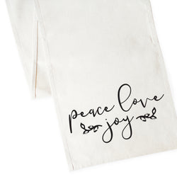 Peace Love Joy Cotton Canvas Table Runner - The Cotton and Canvas Co.