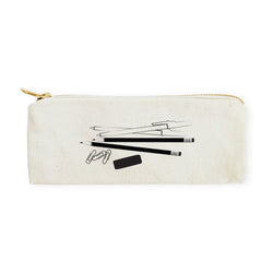 Stationery Graphic Cotton Canvas Pencil Case and Travel Pouch - The Cotton and Canvas Co.