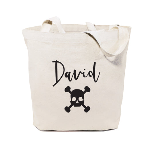 Personalized Name Skull Cotton Canvas Tote Bag - The Cotton and Canvas Co.