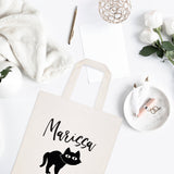 Personalized Name Black Cat Cotton Canvas Tote Bag - The Cotton and Canvas Co.