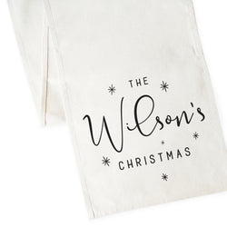 Personalized Last Name Christmas Canvas Table Runner - The Cotton and Canvas Co.