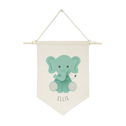 Personalized Name Elephant Hanging Wall Banner