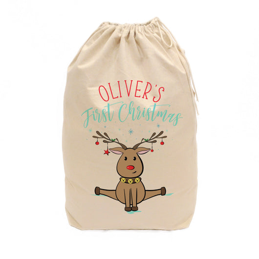 Personalized First Christmas Reindeer Santa Sack - The Cotton and Canvas Co.