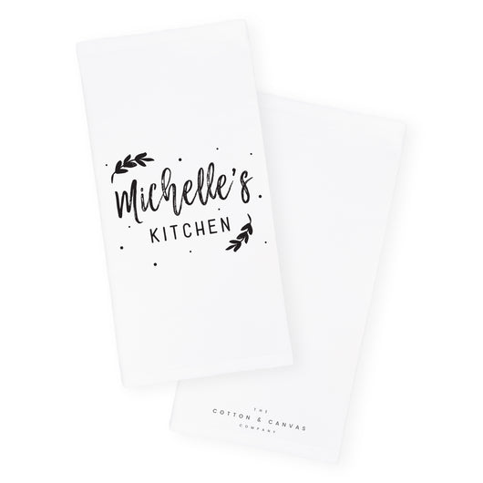Personalized Name With Leaves Kitchen Tea Towel The Cotton And Canvas Co