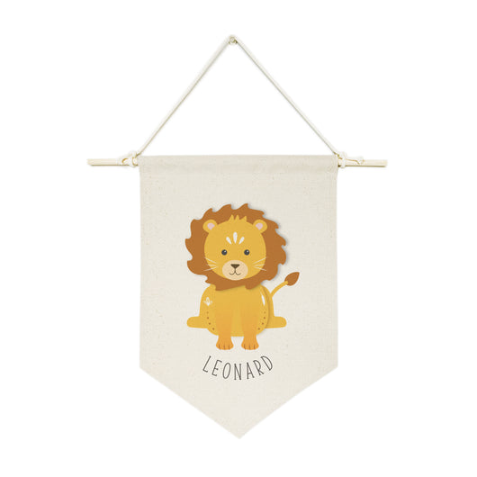Personalized Name Lion Hanging Wall Banner - The Cotton and Canvas Co.