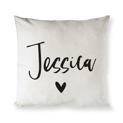 Personalized  Name with Heart Pillow Cover - The Cotton and Canvas Co.