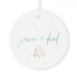 Modern Personalized Couple Names Christmas Ornament - The Cotton and Canvas Co.