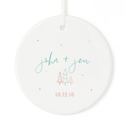 Modern Personalized Couple Names and Date Christmas Ornament - The Cotton and Canvas Co.