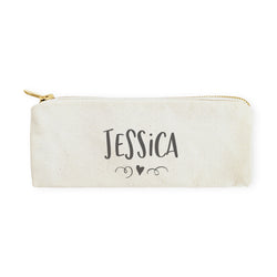 Personalized Name with Mini Heart Pencil Case and Travel Pouch - The Cotton and Canvas Co.