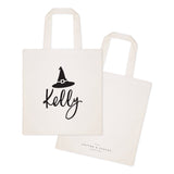 Personalized Name Witch Cotton Canvas Tote Bag - The Cotton and Canvas Co.
