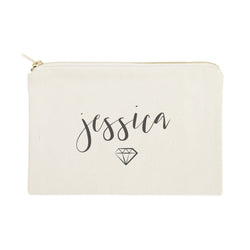 Personalized Name with Diamond Cosmetic Bag and Travel Make Up Pouch - The Cotton and Canvas Co.