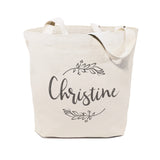 Personalized Name with Vine Cotton Canvas Tote Bag - The Cotton and Canvas Co.