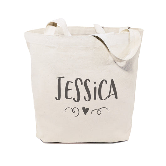 Personalized Name with Mini Heart Cotton Canvas Tote Bag - The Cotton and Canvas Co.