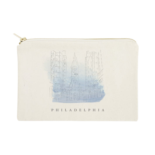 Philadelphia Cityscape Cotton Canvas Cosmetic Bag