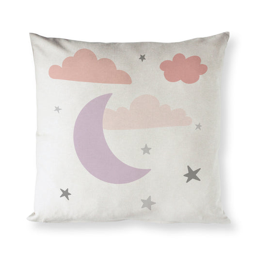 Pink Clouds and Moon Baby Pillow Cover - The Cotton and Canvas Co.