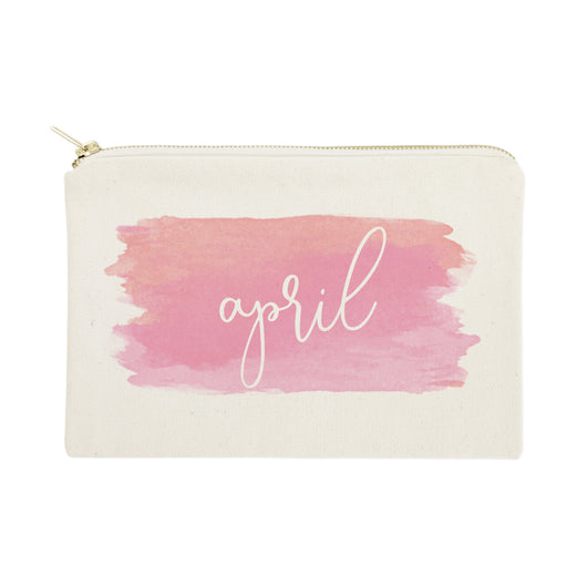 Personalized Name Pink Watercolor Cosmetic Bag and Travel Make Up Pouch - The Cotton and Canvas Co.