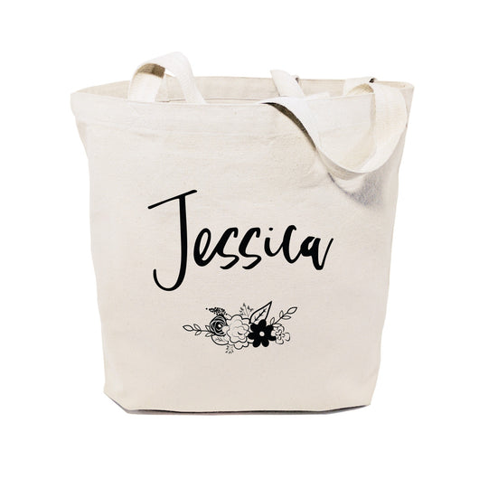 Personalized Floral Name Cotton Canvas Tote Bag - The Cotton and Canvas Co.