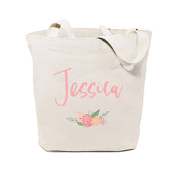 Personalized Spring Colored Floral Name Cotton Canvas Tote Bag - The Cotton and Canvas Co.