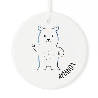 Pesonalized Name Polar Bear Christmas Ornament