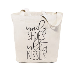 Sandy Shoes and Salty Kisses Cotton Canvas Tote Bag - The Cotton and Canvas Co.