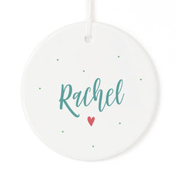 Personalized Name Heart Christmas Ornament