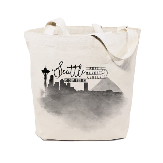 Seattle Cityscape Cotton Canvas Tote Bag - The Cotton and Canvas Co.