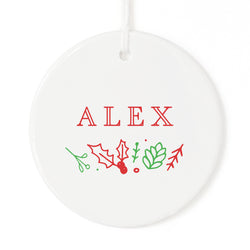 Modern Personalized Name Christmas Ornament