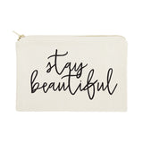 Stay Beautiful Cotton Canvas Cosmetic Bag - The Cotton and Canvas Co.