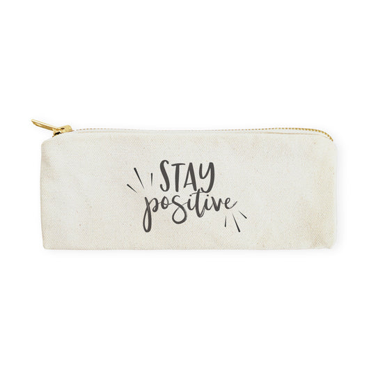 Stay Positive Cotton Canvas Pencil Case and Travel Pouch - The Cotton and Canvas Co.