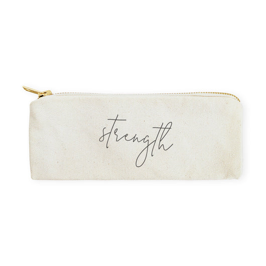 Strength Cotton Canvas Pencil Case and Travel Pouch - The Cotton and Canvas Co.