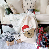 Baby Bear Cotton Canvas Christmas Santa Sack - The Cotton and Canvas Co.
