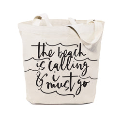 The Beach is Calling and I Must Go Cotton Canvas Tote Bag - The Cotton and Canvas Co.