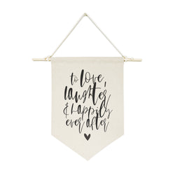 To Love, Laughter and Happily Ever After Shower Hanging Wall Banner