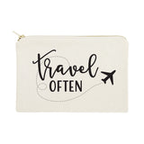 Travel Often Cotton Canvas Cosmetic Bag - The Cotton and Canvas Co.