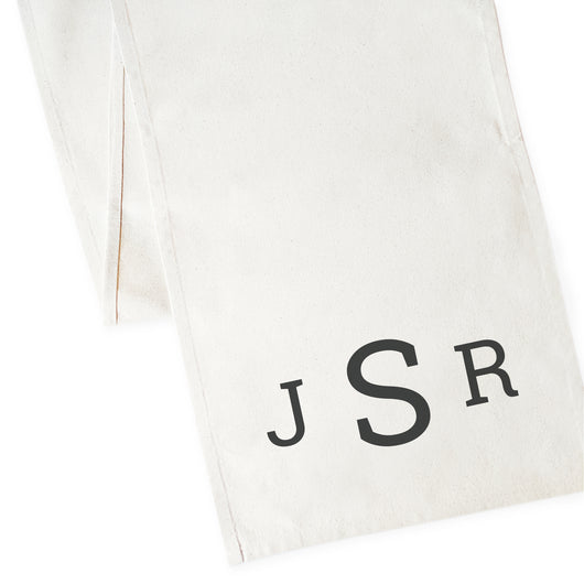 Personalized Triple Monogram Cotton Canvas Table Runner - The Cotton and Canvas Co.