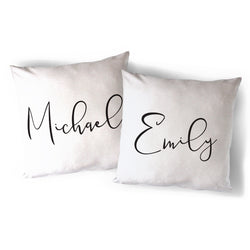 Personalized Couple Names Pillow Cover 2-Pack - The Cotton and Canvas Co.