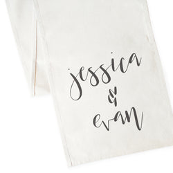 Personalized Couple Names Canvas Table Runner - The Cotton and Canvas Co.