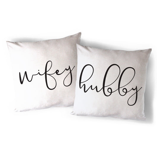 Hubby and Wifey Pillow Covers, 2-Pack - The Cotton and Canvas Co.