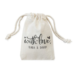 Personalized With Love with Names Wedding Favor Bags, 6-Pack - The Cotton and Canvas Co.