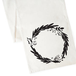 Christmas Wreath Canvas Table Runner - The Cotton and Canvas Co.