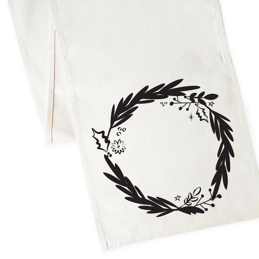 Christmas Wreath Cotton Canvas Table Runner - The Cotton and Canvas Co.